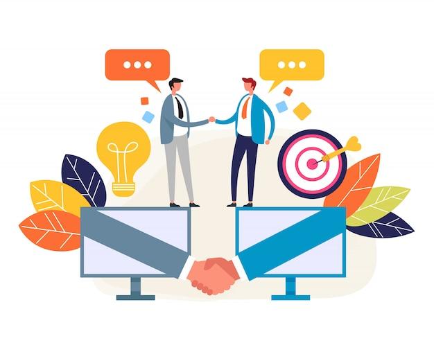 Accordo commerciale online Vettore Premium