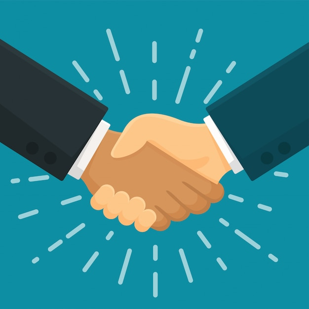 Accordo di stretta di mano agitare le mani con il simbolo commerciale del business partner. Vettore Premium