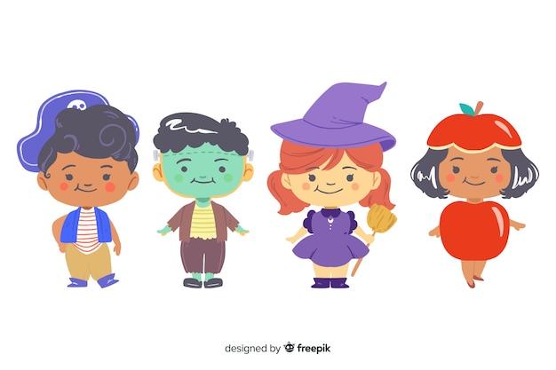 Accumulazione del bambino di halloween disegnata a mano Vettore gratuito