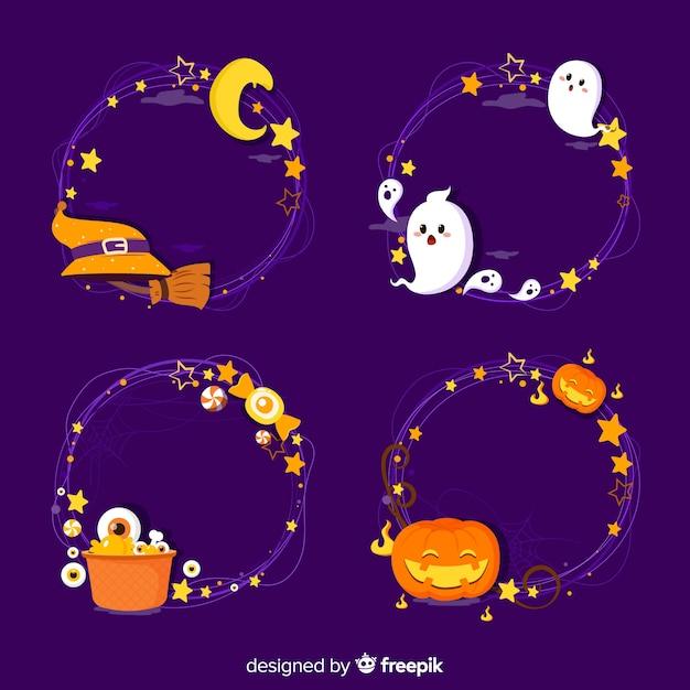Accumulazione del bordo di halloween disegnata a mano Vettore gratuito