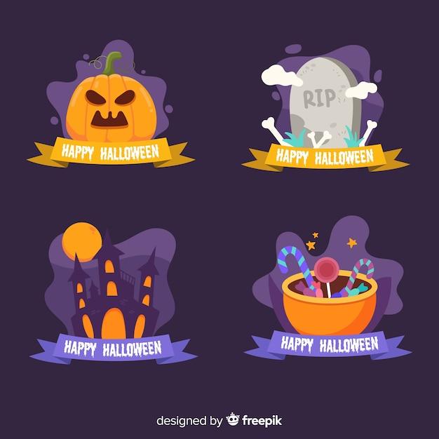 Accumulazione del distintivo di halloween su priorità bassa blu Vettore gratuito