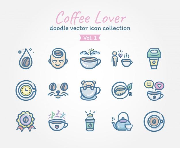 Accumulazione dell'icona di vettore di doodle dell'amante del caffè Vettore Premium