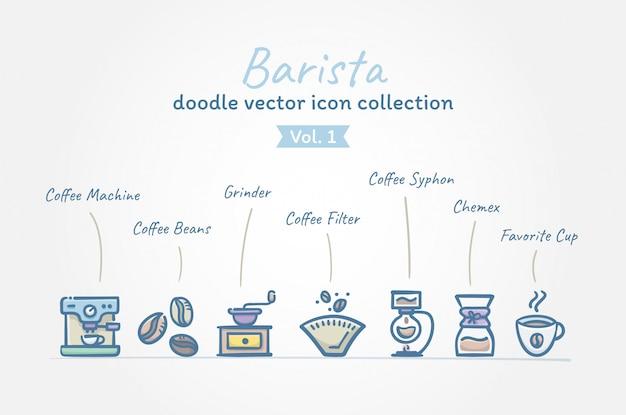 Accumulazione dell'icona di vettore di doodle di coffee barista Vettore Premium