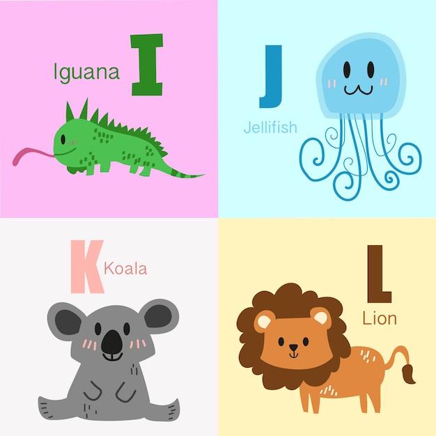Accumulazione dell'illustrazione di alfabeto degli animali di i alla l. Vettore Premium
