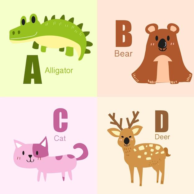 Accumulazione dell'illustrazione di alfabeto di a alla gente degli animali. Vettore Premium