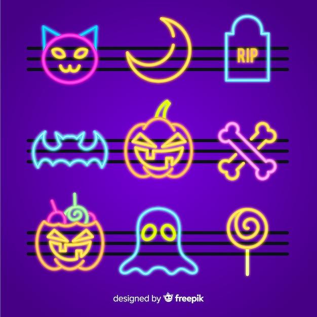 Accumulazione dell'insegna al neon dell'elemento di halloween Vettore gratuito