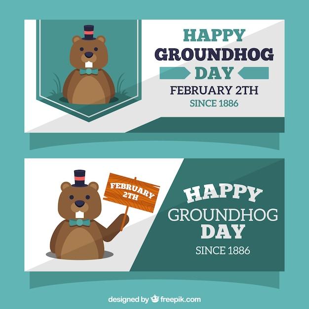 Accumulazione della bandiera groundhog day Vettore gratuito