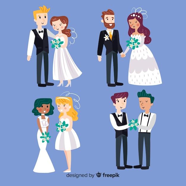 Accumulazione delle coppie di nozze disegnata a mano Vettore gratuito