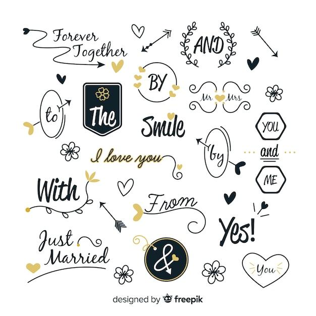 Accumulazione delle parole d'ordine di nozze disegnate a mano Vettore gratuito