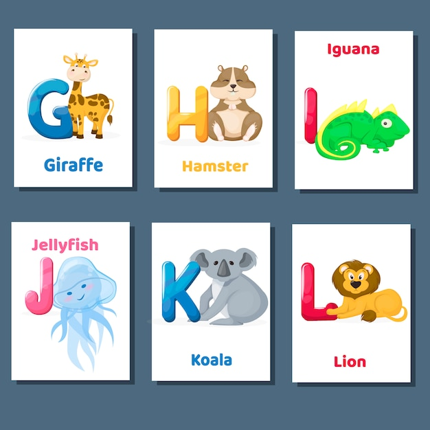 Accumulazione di flashcards stampabile di alfabeto con la lettera ghijk l. animali dello zoo per istruzione di lingua inglese. Vettore Premium