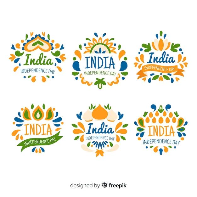 Accumulazione disegnata a mano del distintivo di festa dell'indipendenza dell'india Vettore gratuito