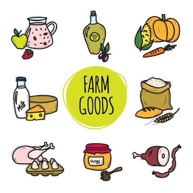 Accumulazione disegnata a mano sveglia di alimenti biologici Vettore Premium