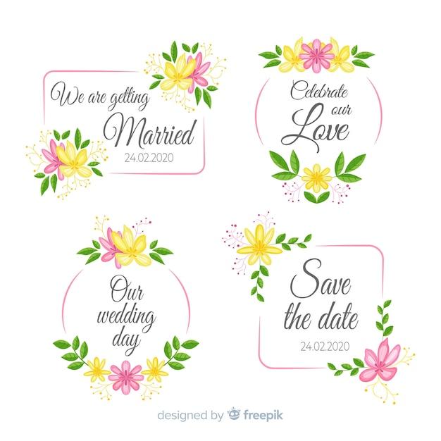 Accumulazione floreale disegnata a mano dei distintivi di nozze Vettore gratuito