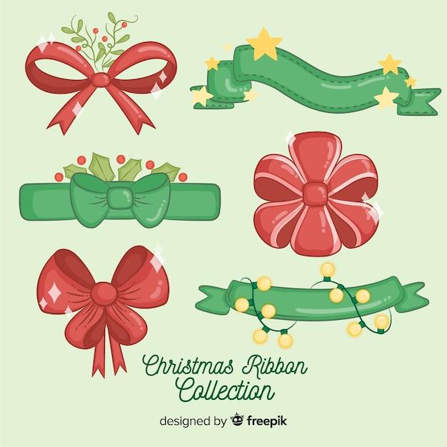 Accumulazione rossa e verde disegnata a mano del nastro di natale Vettore gratuito