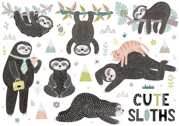 Accumulazione sveglia dei bradipi di sonno con le montagne, le piante ed i fiori Vettore Premium