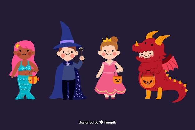 Accumulazione sveglia dei costumi del bambino di halloween Vettore gratuito