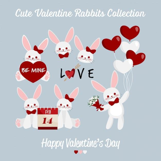 Accumulazione sveglia delle coppie dei conigli di san valentino. Vettore Premium