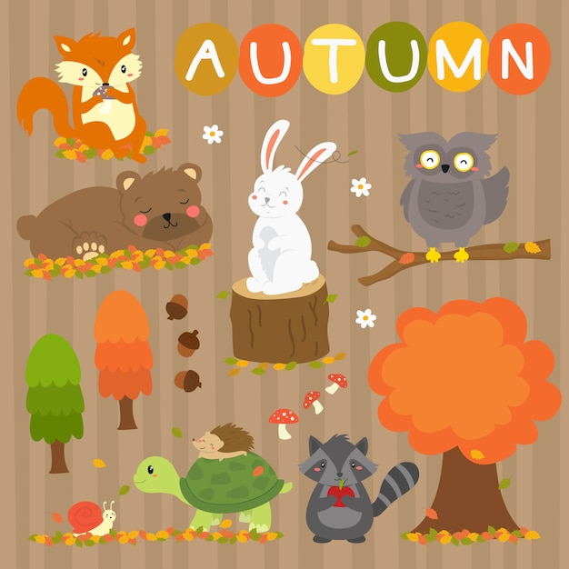 Accumulazione sveglia di vettore degli animali di autunno. animali della stagione autunnale Vettore Premium