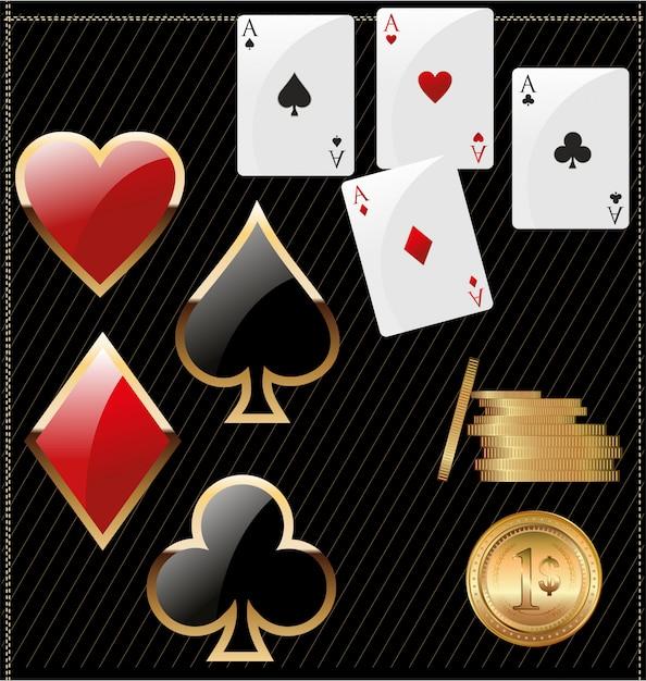 Ace poker con fiches da poker d'oro Vettore Premium