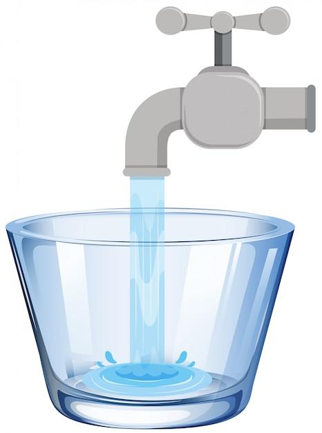 Acqua del rubinetto nel bicchiere Vettore Premium