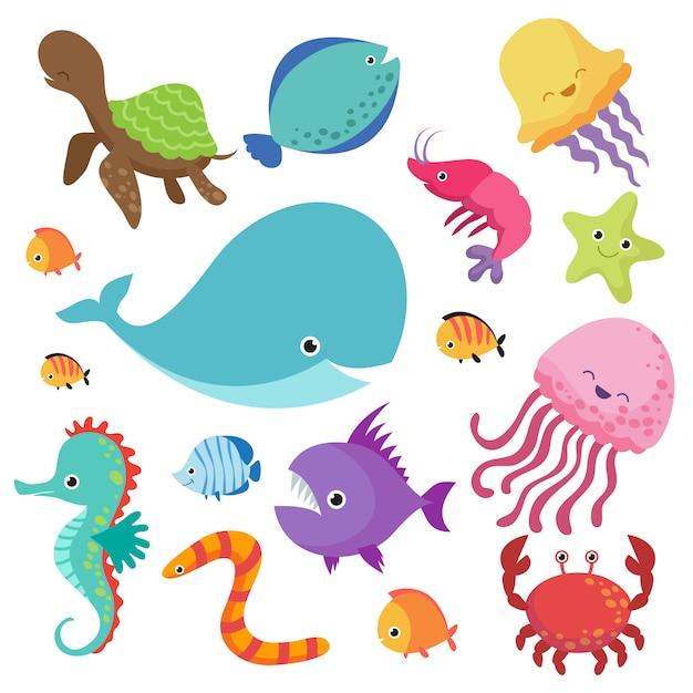 Acquario dei bambini del fumetto e set di pesci di mare selvatici Vettore Premium