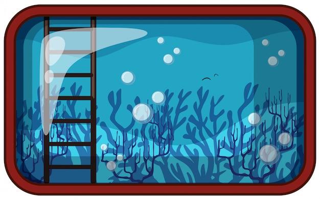 Acquario sott'acqua con corallo e scala Vettore gratuito