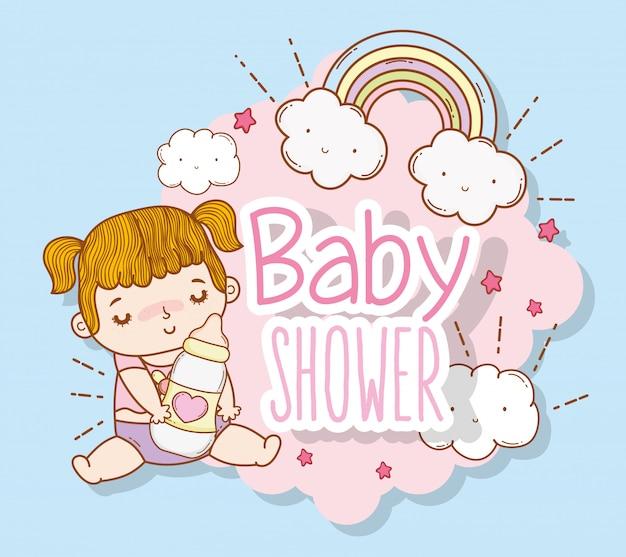 Acquazzone della neonata con l'arcobaleno e le nuvole Vettore Premium