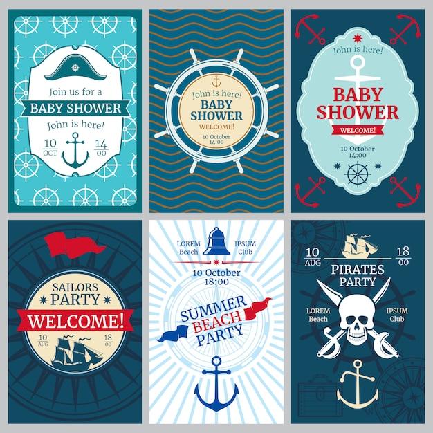 Acquazzone di bambino nautico, compleanno, carte di invito di vettore di festa in spiaggia Vettore Premium