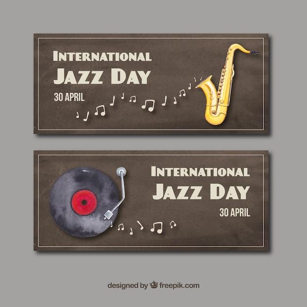 Acquerelli del giorno jazz internazionale Vettore gratuito