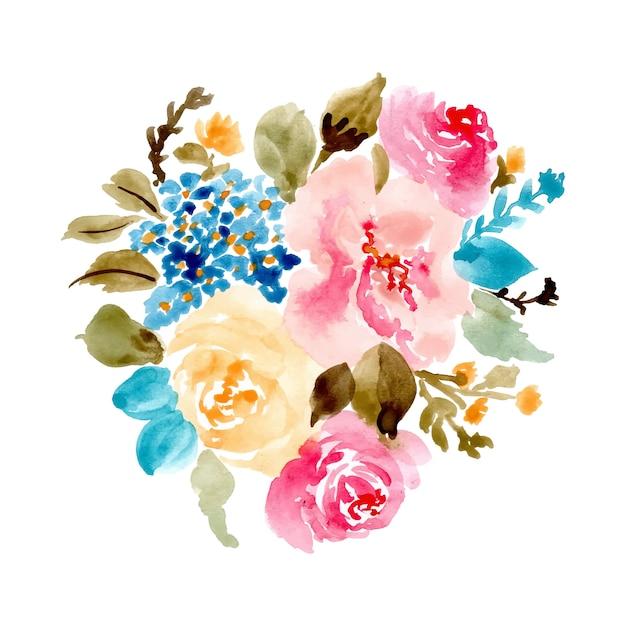 Acquerello abbastanza bouquet floreale Vettore Premium