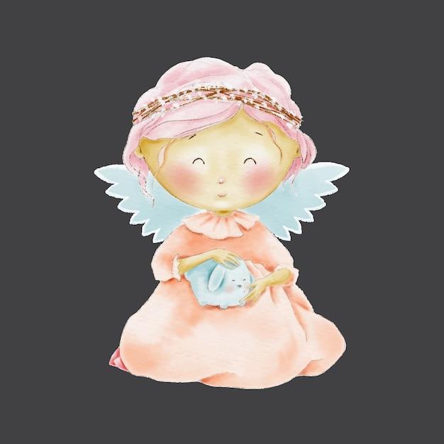 Acquerello angelo simpatico cartone animato con animaletto Vettore Premium