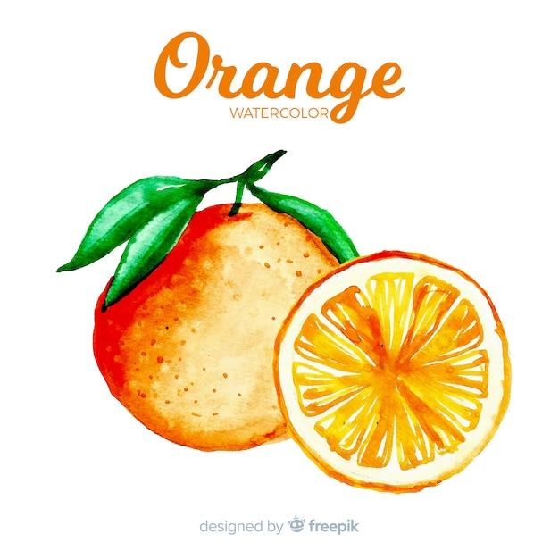 Acquerello arancione Vettore gratuito