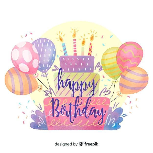 Acquerello buon compleanno lettering sfondo Vettore gratuito