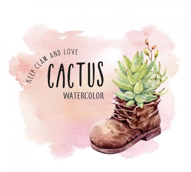 Acquerello cactus e succulento con vaso di stivali. Vettore Premium