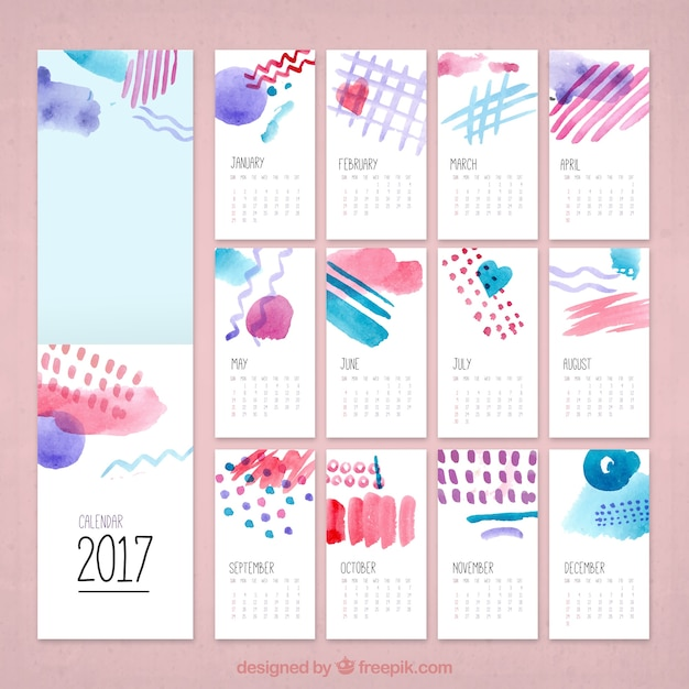 Acquerello calendario creativo 2017 Vettore gratuito