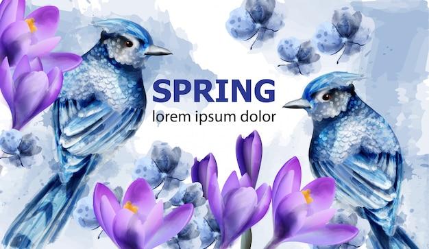 Acquerello carta di primavera Vettore Premium