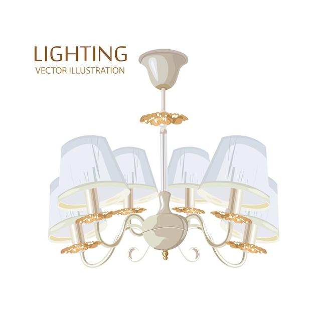 Acquerello classico ricco di lampadari Vettore Premium