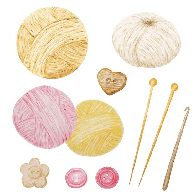 Acquerello clip art hobby maglieria e uncinetto, filato di lana, bottoni set di clipart carino. collezione di gomitoli disegnati a mano per lavorare a maglia Vettore Premium