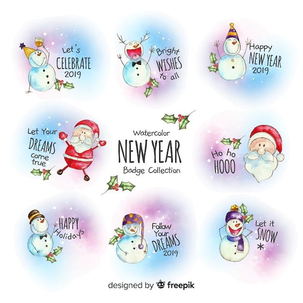 Acquerello collezione di distintivi del nuovo anno Vettore gratuito
