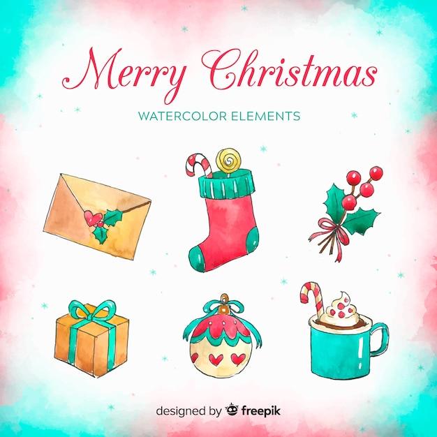 Acquerello collezione di elementi natalizi Vettore gratuito