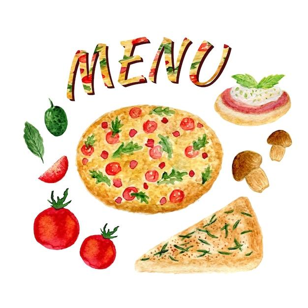 Acquerello collezione di pizza set isolato. ingredienti italiani impostati per il menu. pomodoro, oliva, bruschetta, focaccia, funghi e basilico Vettore Premium