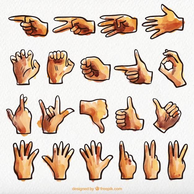 Acquerello collezione linguaggio dei segni Vettore gratuito