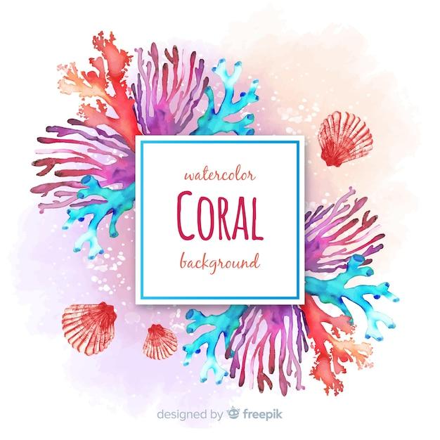 Acquerello colorato sfondo corallo Vettore gratuito
