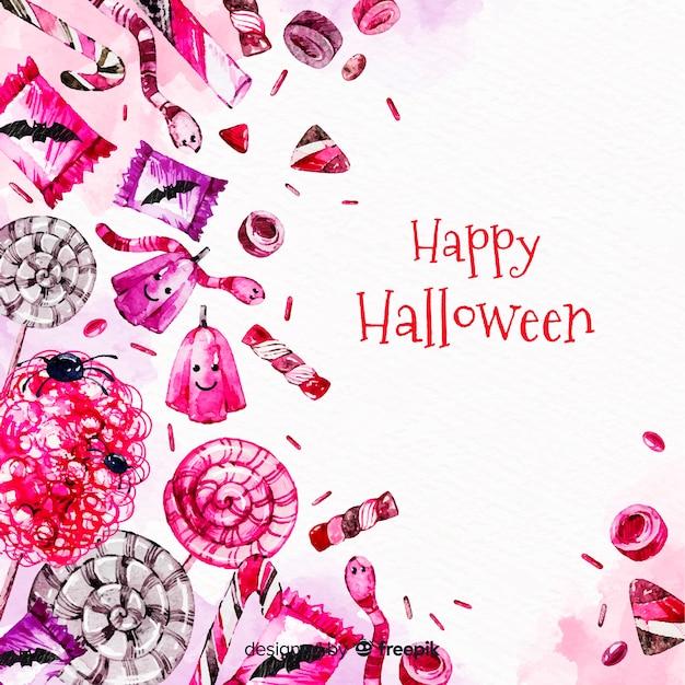 Acquerello colorato sfondo di halloween Vettore gratuito