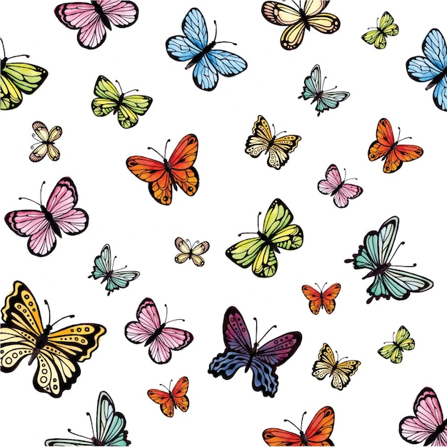 Acquerello colorful butterflies collection Vettore gratuito