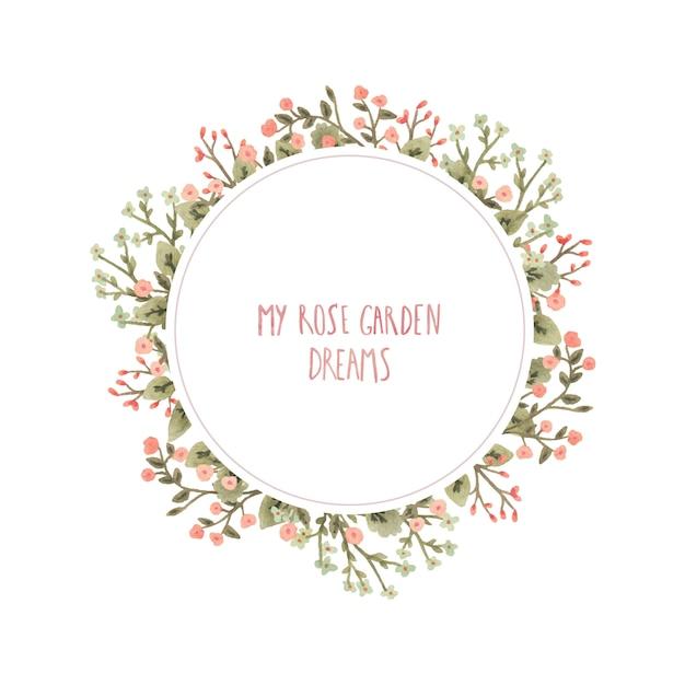 Acquerello cornice rotonda con fiori in stile romantico. Vettore Premium