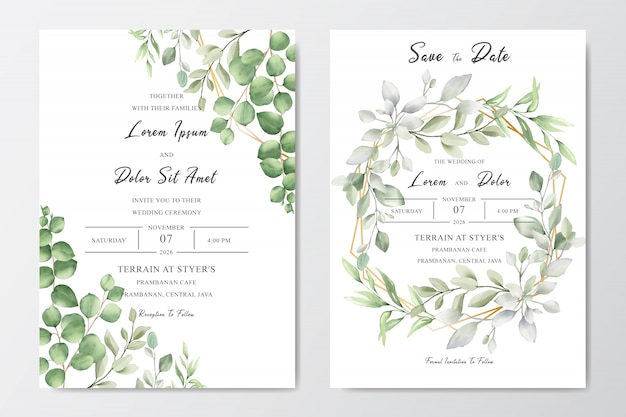 Acquerello decorativo biglietto d'invito per matrimonio floreale Vettore Premium