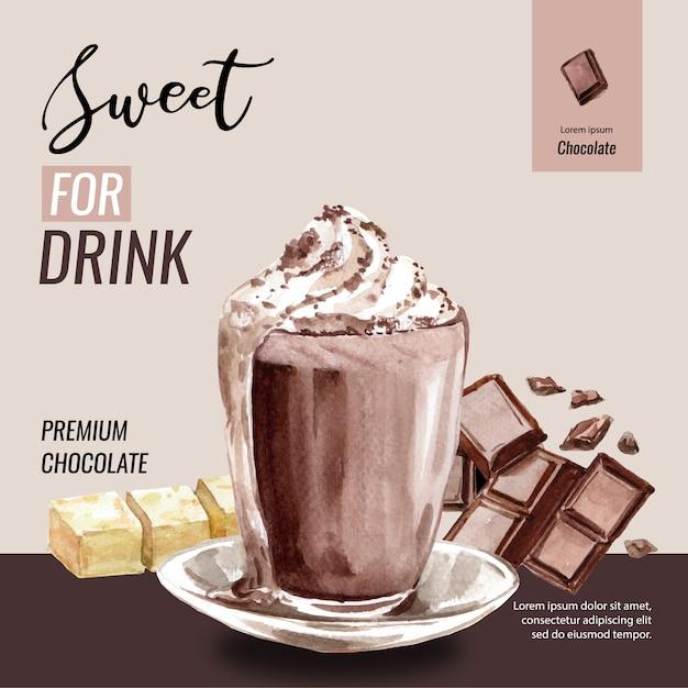 Acquerello degli alberi del ramo del cacao del cioccolato con la bevanda del frappe del cioccolato, illustrazione Vettore gratuito