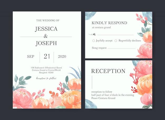 Acquerello del fiore della carta di nozze, carta di ringraziamenti, illustrazione di matrimonio dell'invito Vettore gratuito