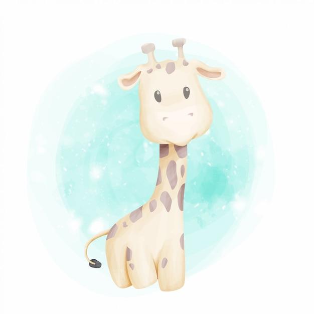 Acquerello del ritratto sveglio della giraffa del bambino Vettore Premium
